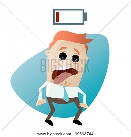 cartoon man with empty battery
