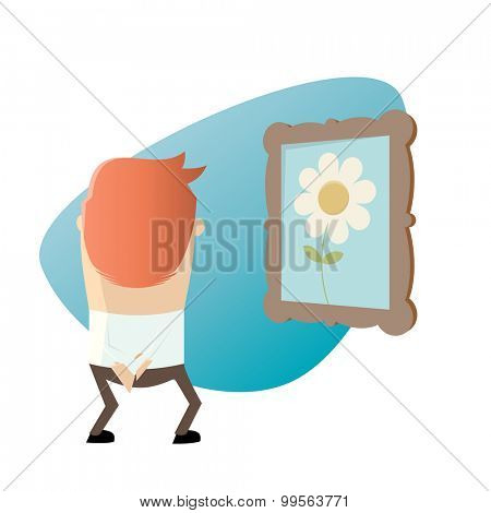 cartoon man is looking at a picture with a flower