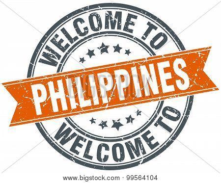 Welcome To Philippines Orange Round Ribbon Stamp