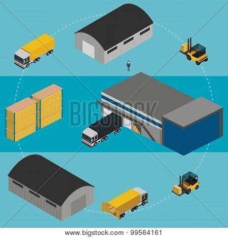Warehouse process. Warehouse logistic. Warehouse. Warehouse isometric illustration. Warehouse worker. Warehouse infographics. Warehouse truck. Warehouse building. Warehouse exterior. Delivery truck.