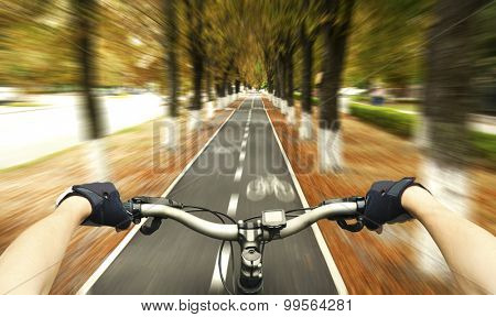 Cyclist riding on the bike path