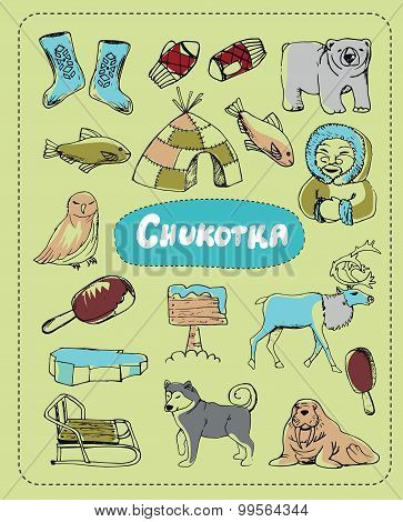 Vector set of tourist attractions Chukotka.