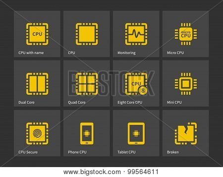 Modern computer processor icons.