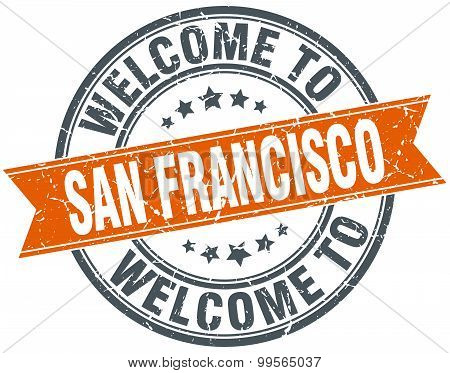 Welcome To San Francisco Orange Round Ribbon Stamp