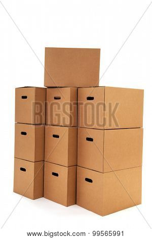 Many carton boxes isolated over white background