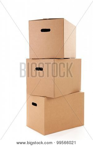 several carton boxes isolated over white background