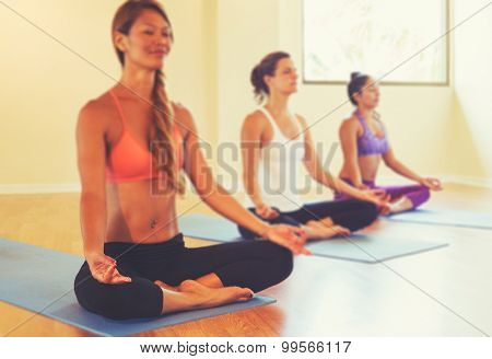 Group of People Relaxing and Meditating in Yoga Class. Wellness and Healthy Lifestyle. Shallow Depth of Field.