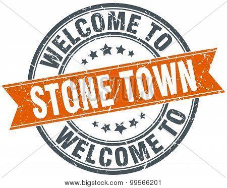 Welcome To Stone Town Orange Round Ribbon Stamp