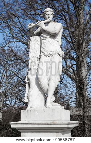 Statue Of Roman God Mercury In Schonbrunn Garden, Vienna