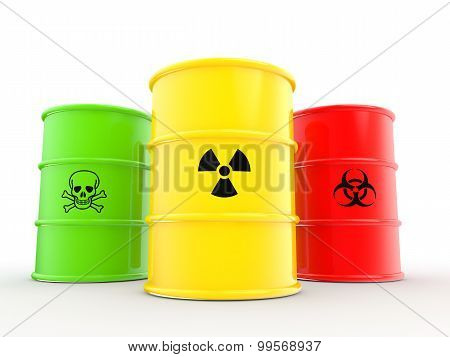 3d barrels with warning symbols