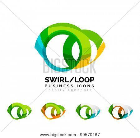 Set of infinity concepts, loop logo designs. Modern color flowing wave design on white