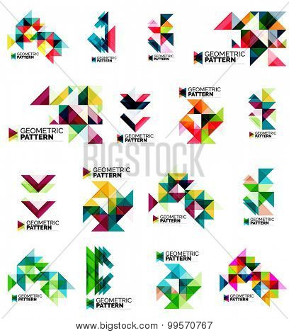 Set of color triangles geometric pattern elements isolated on white. Web, app background or business identity, presentation and wallpaper