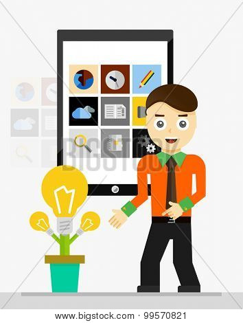 Mobile app startup idea concept. Young businessman showing growing plant of light bulbs. Vector illustration