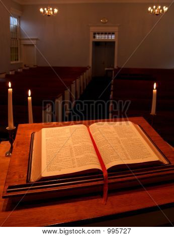 Bible, Pulpit And Candles