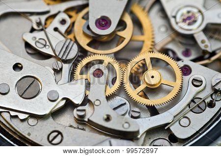 Metal Cogwheels In Clockwork, Concept Teamwork