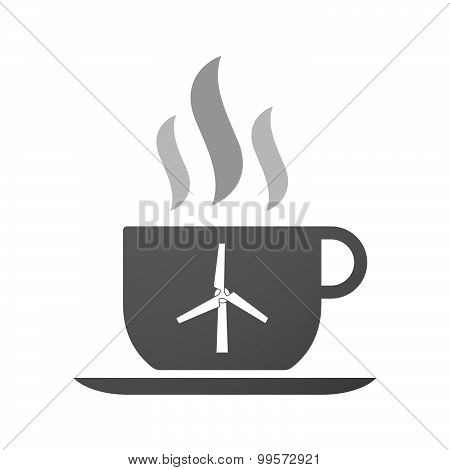Cup Of Coffee Icon  With A Wind Generator