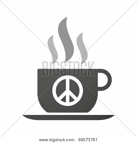Cup Of Coffee Icon  With A Peace Sign