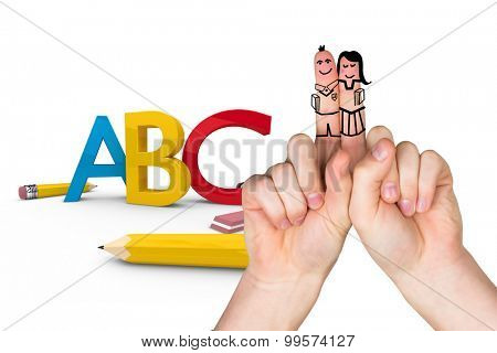 Fingers posed as students against abc graphic