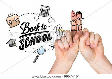 Fingers posed as students against back to school