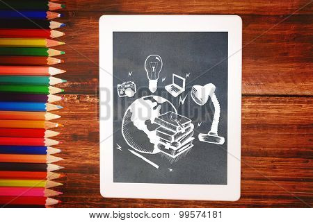 Global education doodle against students desk with tablet pc