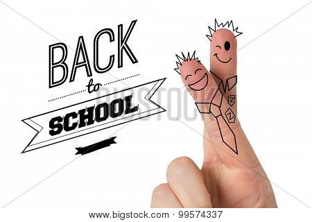 Fingers posed as students against back to school message