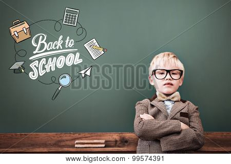 back to school against cute pupil dressed up as teacher in classroom