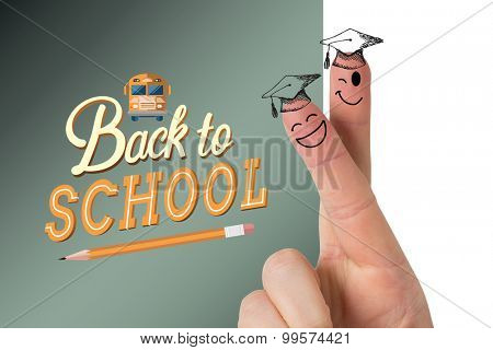 Fingers posed as students against back to school graphic