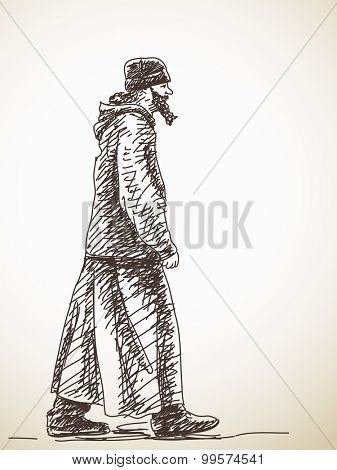 Sketch of walking ortodox priest Hand drawn illustration