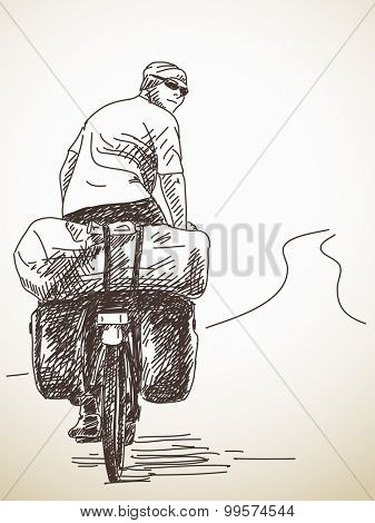 Sketch of long distance cyclist. Back view Hand drawn illustration
