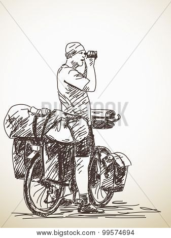 Sketch of long distance cyclist shooting video, Hand drawn illustration