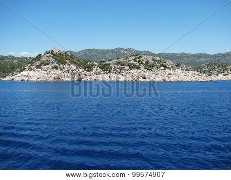 Mountains in Turkey in Kemer. Blue, clear sea.
