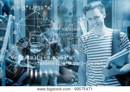 geometry problem against handsome student smiling at camera outside