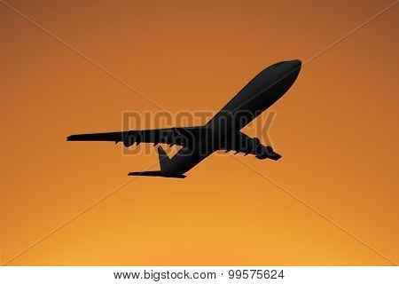 Graphic airplane against orange sky
