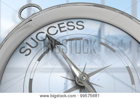 Compass pointing to success against bright white room with windows