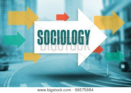 The word sociology and arrows against new york street