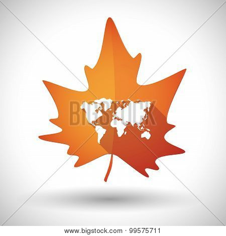 Autumn Leaf Icon With A World Map