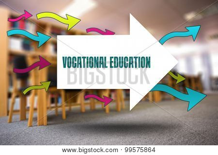 The word vocational education and arrows against volumes of books on bookshelf in library