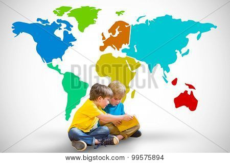 Pupils reading book against white background with vignette