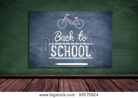 back to school against blue chalkboard