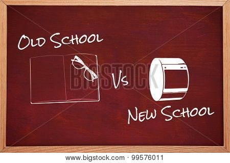 old school vs new school against desk