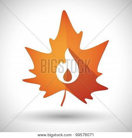 Autumn Leaf Icon With A Flame