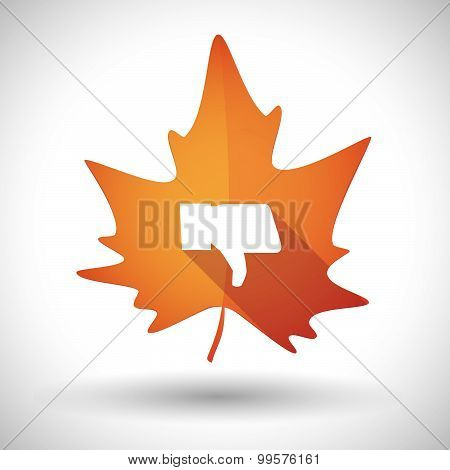 Autumn Leaf Icon With A Thumb Down Hand