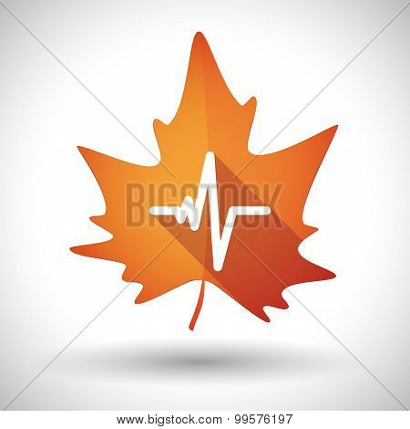 Autumn Leaf Icon With A Heart Beat Sign