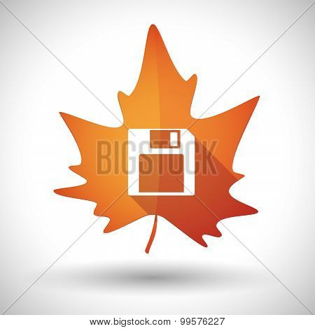 Autumn Leaf Icon With A Floppy Disk