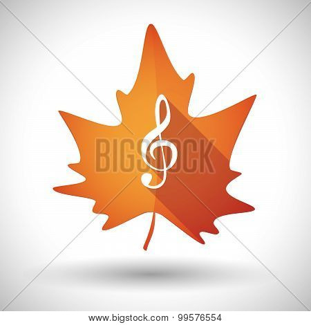 Autumn Leaf Icon With A G Clef