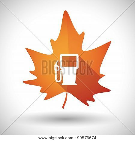 Autumn Leaf Icon With A Gas Station