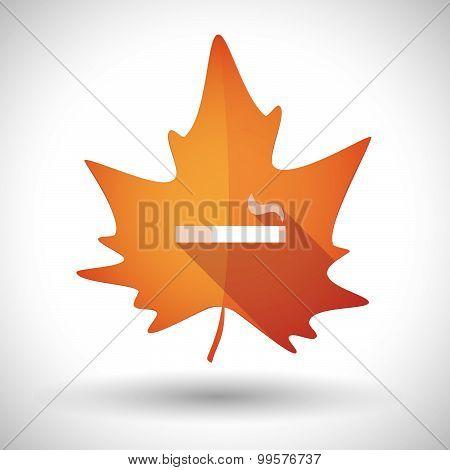 Autumn Leaf Icon With A Cigarette