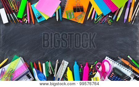 School and office supplies double border on blackboard