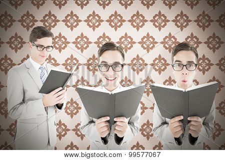 Nerd reading book against background