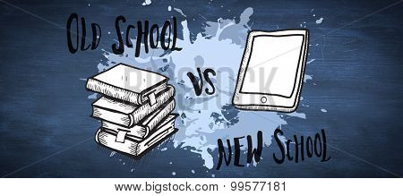 Old school vs new school doodle against blue chalkboard